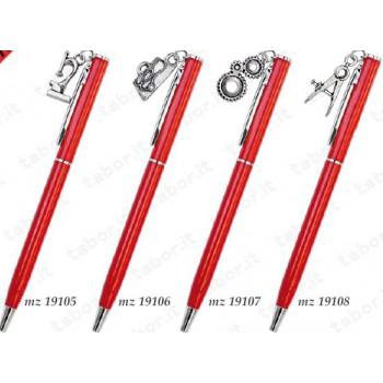 Penna rossa con applicazone laurea in argento
