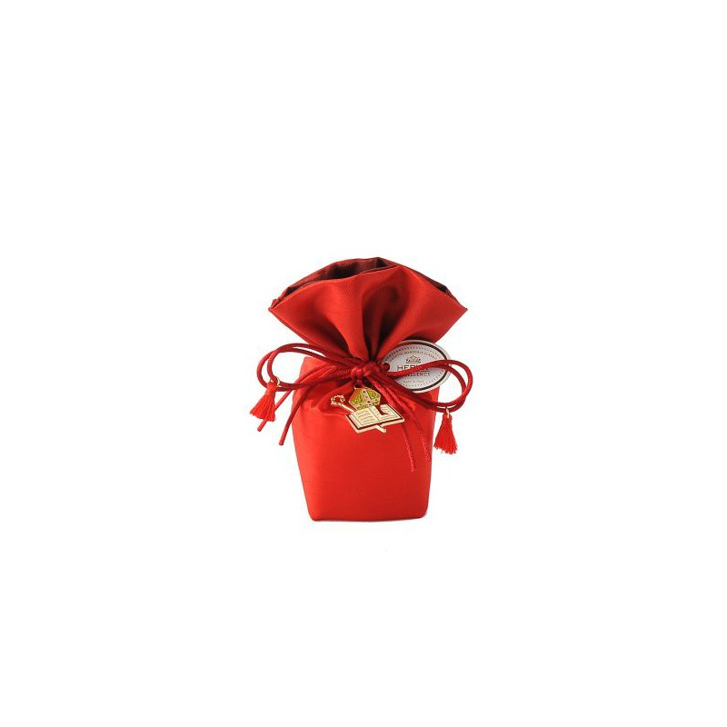Secchiello rosso in raso con ciondolo con ciondolo