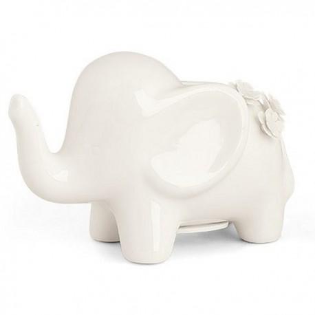 Elefante con fiorellini in porcellana