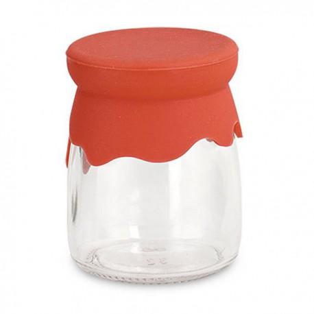 Barattolo vetro tappo silicone rosso 10 pezzi