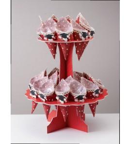 Alzatina con coni rossi per Laurea