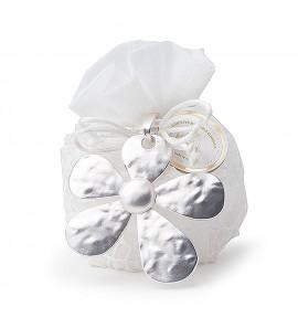 Secchiello 5 confetti in PVC  con applicazione fiore