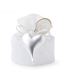 Secchiello 5 confetti in PVC  con applicazione cuore allungato