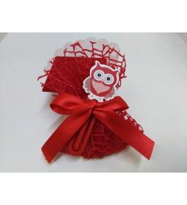 Sacchetto rete rossa con segnapagina gufo