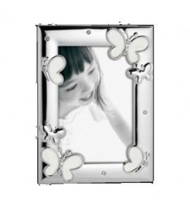 Cornice Kids White metallo lucido con farfalla