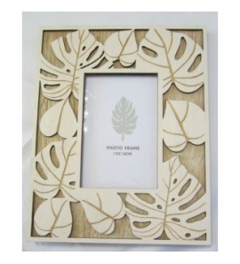 Cornice legno foglia bianca