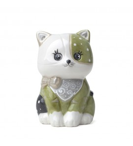 Gattino porcellana verde dipinto