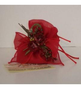 Sacchetto con fiocco rosso e fiore incorportato