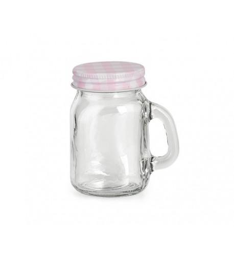 Bicchiere con manico rosa