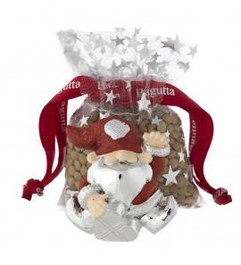 Gnomo magnete con cuore rosso con lenticchie