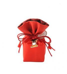 Secchiello rosso in raso con gufo