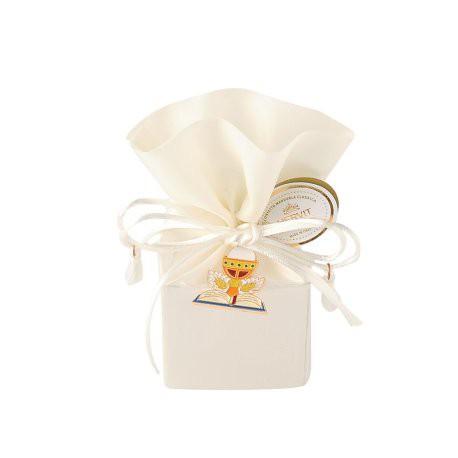 Secchiello bianco in raso con ciondolo comunione