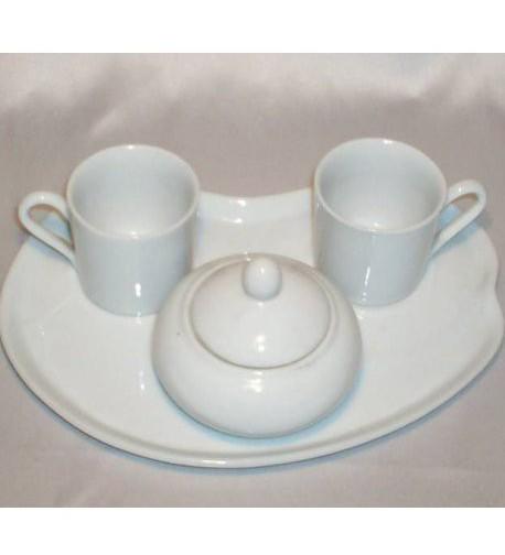 Set caffè bianco in porcellana